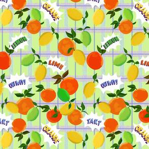 Citrus on lime plaid