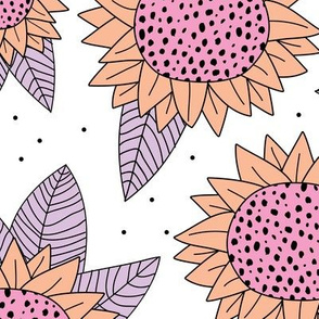 Summer flowers and sunflower garden blossom leaves spring pink lilac girls JUMBO