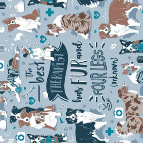 Tea Towel scale // The best therapist has fur and four legs quote // pastel blue background teal details with Australian Shepherds / Aussies dogs