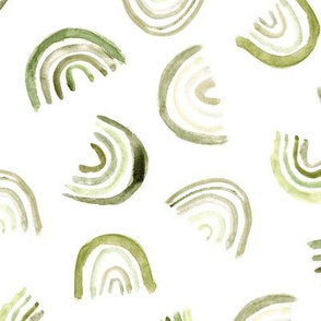 Olive green watercolor rainbows ★ khaki rainbow for neutral modern nursery