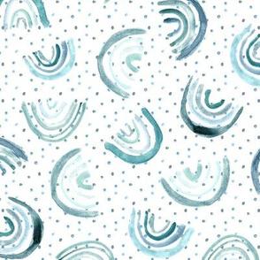 Denim blue tossed rainbows with polka dot ★ watercolor neutral blue rainbow design for modern minimal nursery