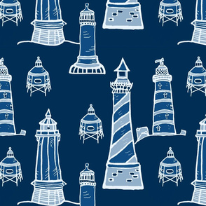 Classic Blue Lighthouses  - Large Scale