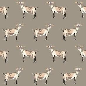 alpine goat fabric - alpine goat wallpaper, alpine goat, alpine goat floral, goat fabric, farm fabric, farm animals - khaki