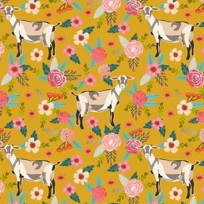 alpine goat fabric - alpine goat wallpaper, alpine goat, alpine goat floral, goat fabric, farm fabric, farm animals - yellow