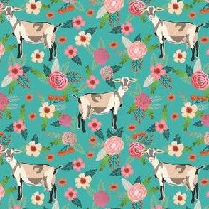 alpine goat fabric - alpine goat wallpaper, alpine goat, alpine goat floral, goat fabric, farm fabric, farm animals - turquoise