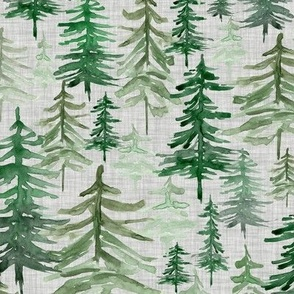 Rustic Forest Trees // Gray Linen