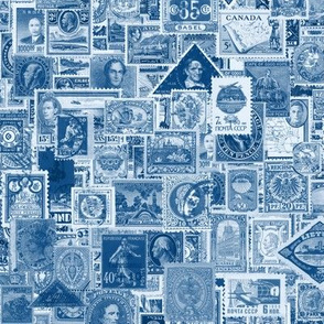 Classic Blue postage stamp collage