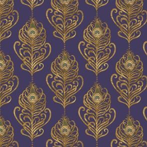 Golden Art Nouveau Peacock Feather-Violet-Medium