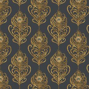 Golden Art Nouveau Peacock Feather-Grey-Medium