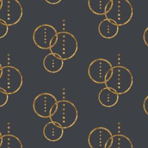 Golden Circles & Dots-Grey
