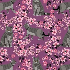 british shorthair cat fabric - cherry blossom, cat floral fabric, cat florals, cat design -purple
