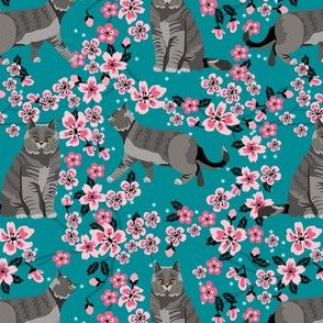 british shorthair cat fabric - cherry blossom, cat floral fabric, cat florals, cat design - blue