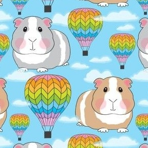 guinea pigs and rainbow hot air balloons