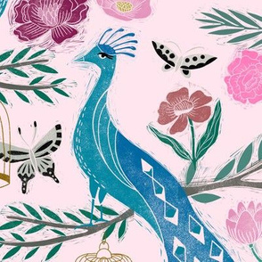 LARGE - peacock lemon tree fabric - peacock wallpaper, chinoiserie style wallpaper, linocut print, peacock floral - light pink