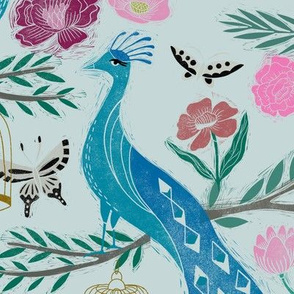 LARGE - peacock lemon tree fabric - peacock wallpaper, chinoiserie style wallpaper, linocut print, peacock floral - light blue