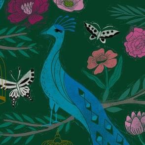 LARGE peacock lemon tree fabric - peacock wallpaper, chinoiserie style wallpaper, linocut print, peacock floral - dark green