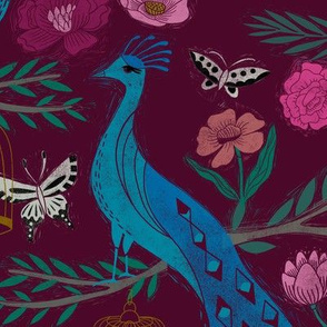 LARGE peacock lemon tree fabric - peacock wallpaper, chinoiserie style wallpaper, linocut print, peacock floral - burgundy
