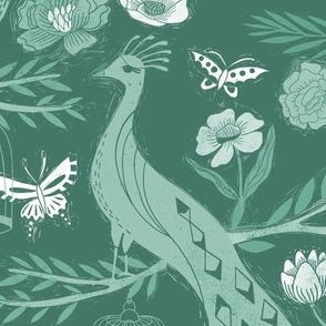 LARGE peacock lemon tree fabric - peacock wallpaper, chinoiserie style wallpaper, linocut print, peacock floral - green