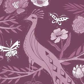 LARGE - peacock lemon tree fabric - peacock wallpaper, chinoiserie style wallpaper, linocut print, peacock floral - mauve