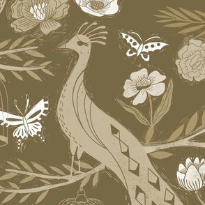 LARGE peacock lemon tree fabric - peacock wallpaper, chinoiserie style wallpaper, linocut print, peacock floral -  olive