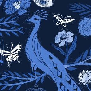 LARGE - peacock lemon tree fabric - peacock wallpaper, chinoiserie style wallpaper, linocut print, peacock floral - indigo