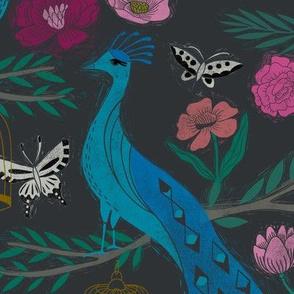 LARGE - peacock lemon tree fabric - peacock wallpaper, chinoiserie style wallpaper, linocut print, peacock floral - charcoal