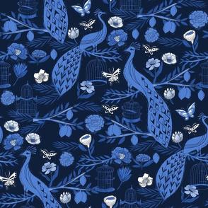 peacock lemon tree fabric - peacock wallpaper, chinoiserie style wallpaper, linocut print, peacock floral - indigo