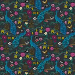 peacock lemon tree fabric - peacock wallpaper, chinoiserie style wallpaper, linocut print, peacock floral - charcoal