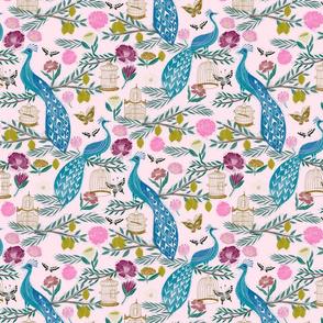 peacock lemon tree fabric - peacock wallpaper, chinoiserie style wallpaper, linocut print, peacock floral - light pink