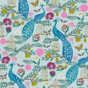 peacock lemon tree fabric - peacock wallpaper, chinoiserie style wallpaper, linocut print, peacock floral - light blue
