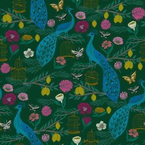 peacock lemon tree fabric - peacock wallpaper, chinoiserie style wallpaper, linocut print, peacock floral - dark green