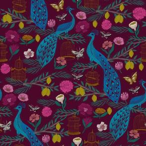 peacock lemon tree fabric - peacock wallpaper, chinoiserie style wallpaper, linocut print, peacock floral - burgundy