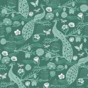 peacock lemon tree fabric - peacock wallpaper, chinoiserie style wallpaper, linocut print, peacock floral - green