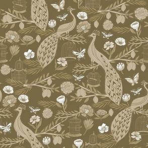 peacock lemon tree fabric - peacock wallpaper, chinoiserie style wallpaper, linocut print, peacock floral - olive