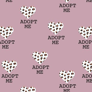 Adopt me pet love leopard cat hearts adoption dogs and cats good cause design mauve lilac