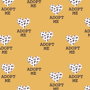 Adopt me pet love leopard cat hearts adoption dogs and cats good cause design mustard yellow