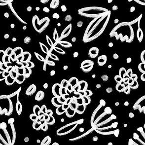 Black and white painterly simply flowers