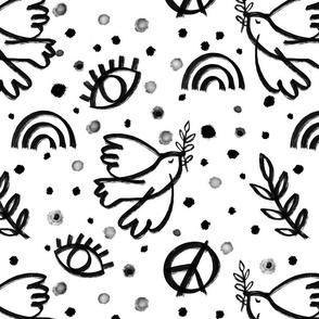peacebird black and white painterly