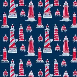 Lighthouses - red, white & blue