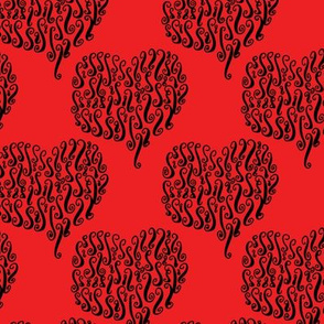 Doodled Hearts in Black on Red Background