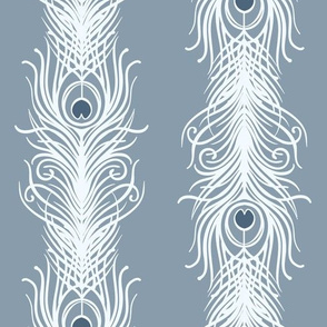 Art Deco Feathers - blue grey
