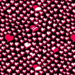 Field of Hearts in Magenta and White on Black Background