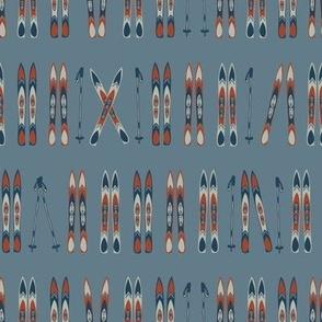 Nordic Skiing, Lt Blue, small print