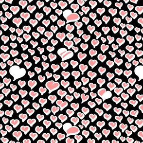 Field of Hearts in White and Peach on Black Background