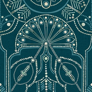 Ornamental Beaded Deco {Teal PMS548} -large scale