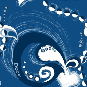 large scale whirls and garlands classic blue - pantone colour of the year 2020