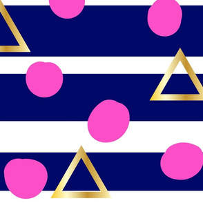 Navy stripe, pink spot, gold triangle - large scale