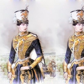 Victorian female ceremonial Hussar soldier army commander in chief general woman power beautiful lady 19th 20th century uniform military horses cavalry forests trees  jacket Shako hat regiments androgynous swords enlisted double eagles badge portrait clou