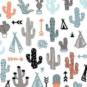 Colorful cactus and teepee botanical summer garden and indian arrow geometric grunge illustration pattern blue coral orange