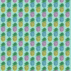 Pineapples mint and pale blue  ~  summer